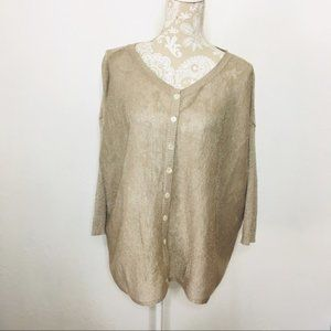 Chan Luu Cardigan Sweater Metallic Gold 932